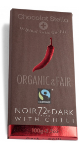 Швейцарски черен шоколад с чили - 72% Какао