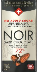 Швейцарски шоколад Stella без захар - Екстра черен 72% с какаови зърна