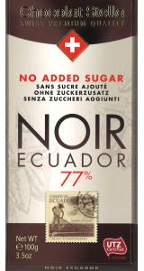 Швейцарски черен шоколад Stella без захар - Екстра черен 77% Еквадор